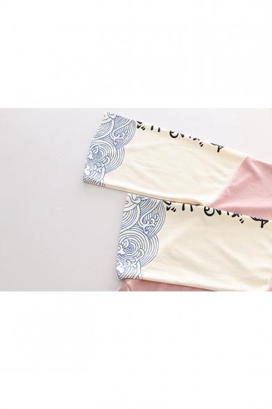 Color Block Japanese Wave Printed Long Sleeve Leisure Hoodie