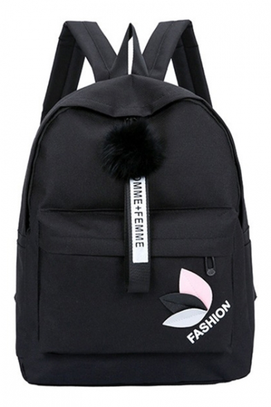 FASHION Letter Printed Leaf Pattern Pom Pom Embellished Backpack School Bag