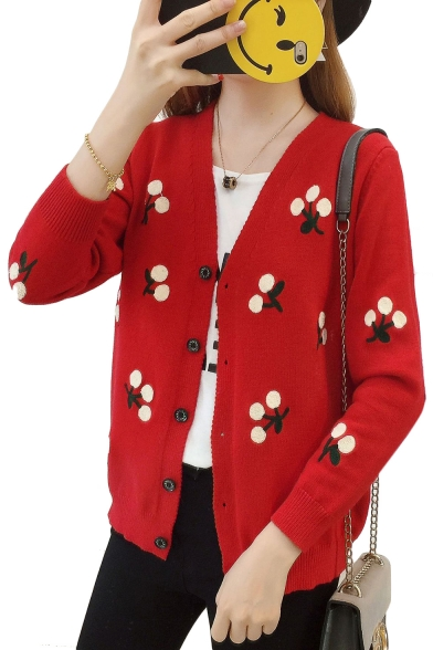Floral Embroidered V Neck Long Sleeve Button Down Cardigan