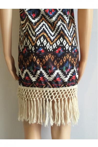 Halter Geometric Printed Sleeveless Tassel Embellished Mini Cami Dress