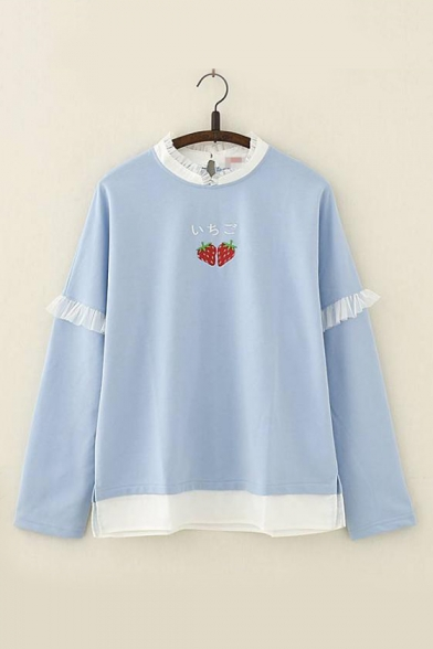 Mesh Trim Sleeve Japanese Round Long Sweatshirt Embroidered Patch Strawberry Leisure Neck w66qpfPn