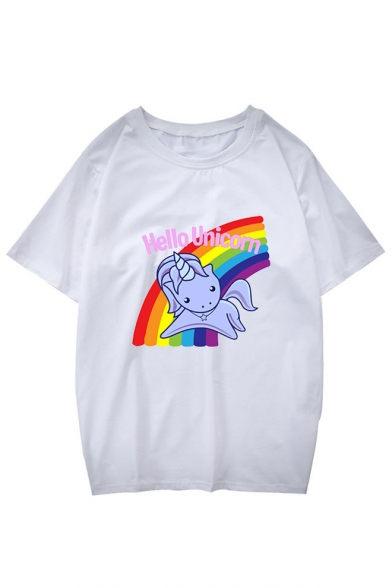 Sleeve Neck Short Leisure Round Cartoon Unisex Tee Cute Unicorn Printed CwXHw7q0