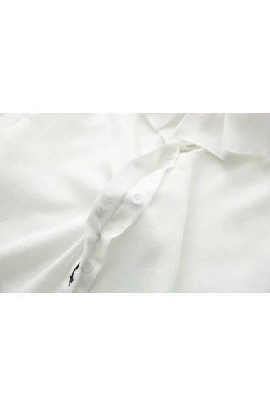 Sleeve Shirt Down Long Lapel Embroidered Collar Letter Button Placket 7w1Oxq6X