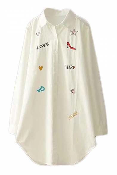Letter Heart Embroidered Lapel Collar Long Sleeve Button Down Tunic Shirt