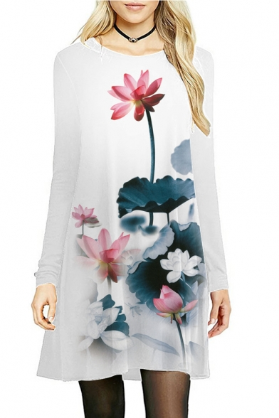 A Line Dress Neck Comfort Sleeve Lotus Long Midi Round Slim Printed 8Aqwvz