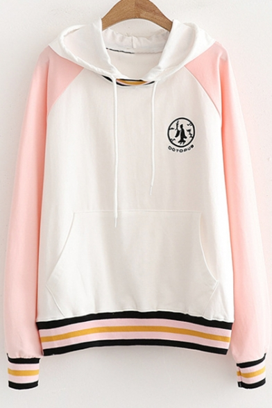 Block Embroidered Long Loose Hem Hoodie Letter Printed Striped Color OCTOPUS Sleeve twIqOxan5