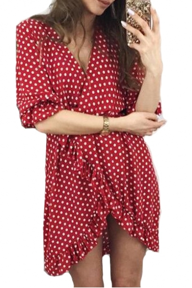 Polka Dot Printed V Neck Half Sleeve Ruffle Detail Mini Asymmetric Dress