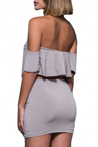 Sexy Plain Off The Shoulder Short Sleeve Crop Top with High Waist Bodycon Skirt Co-ords