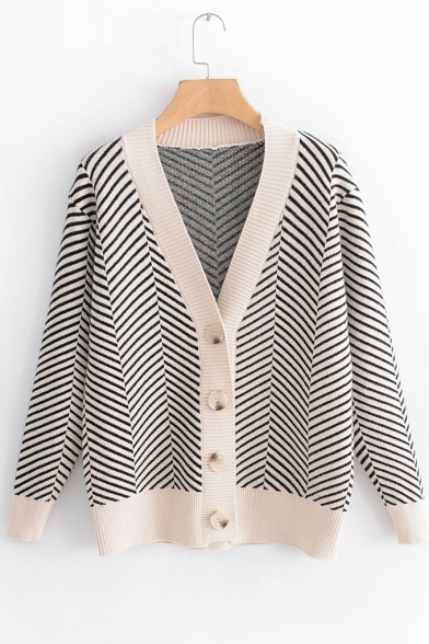 Twill Sleeve Striped Printed Neck Down Button Long V Cardigan Baw5qp