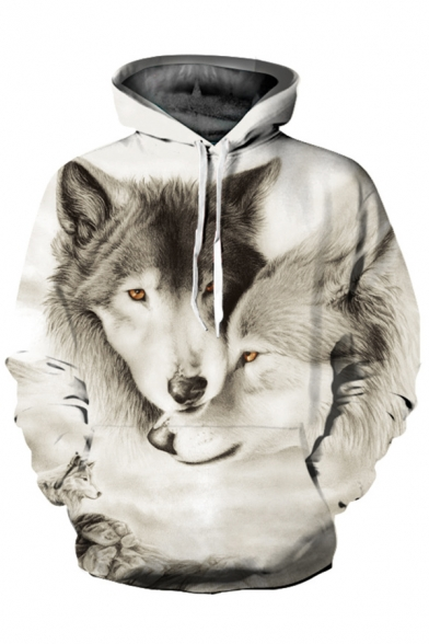 Long Printed Hoodie Loose Wolves 3D Unisex Sleeve SOnvzxWTq