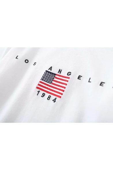 Flag Sleeve Embroidered Short Neck Letter American Tee Round