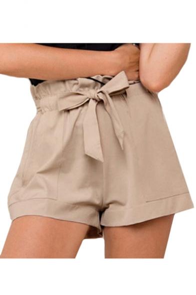 Bow Tie Drawstring Waist Plain Loose Shorts
