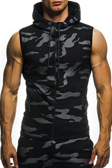 Sleeveless Slim Up Camouflage Printed Hooded Vest Zip B8xgg5qw1
