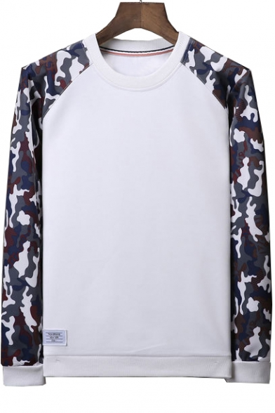 Printed Sweatshirt Camouflage Raglan Long Round Block Neck Sleeve Color 6HwxBPEq