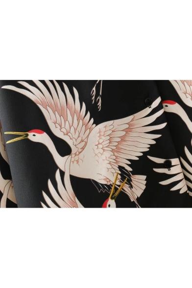 Crane Floral Printed Lapel Collar Long Sleeve Button Down Chiffon Shirt