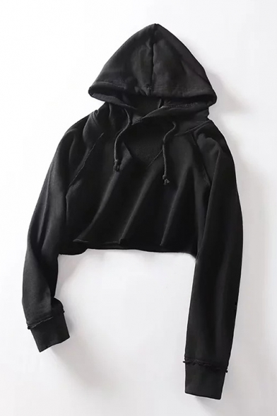 Sleeve Cut Plain Out Crop Front Hoodie Long wIIHzTfq