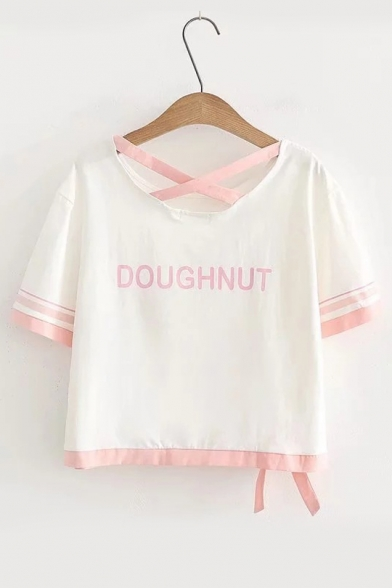 Out Round Tee DOUGHNUT Short Printed Neck Contrast Letter Hollow Trim Sleeve Pqt1wB4