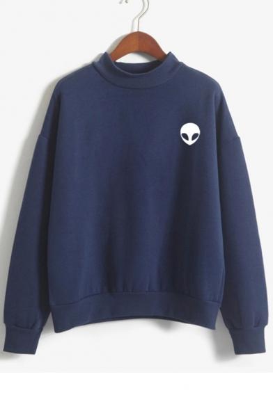 High Neck Long Sleeve Alien Printed Leisure Sweatshirt