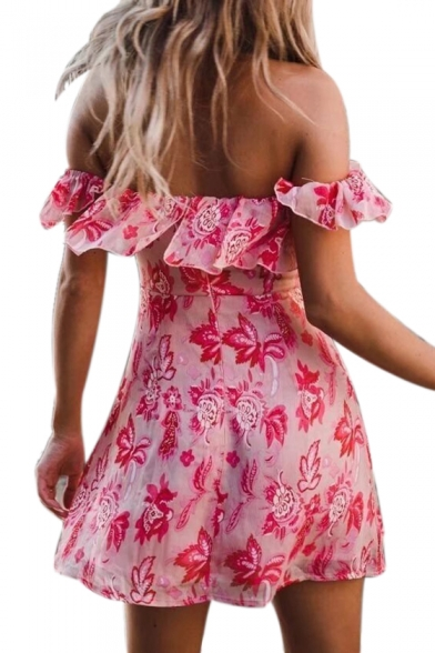 Lace Up Front Off The Shoulder Short Sleeve Floral Printed Mini A-Line Dress