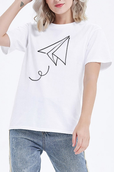 Leisure Paper Airplane Printed Round Neck Short Sleeve Tee