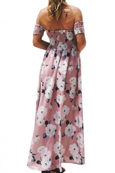 Shoulder Printed Floral Beach The Dress Maxi Off Asymmetric HFqw7RCZRx