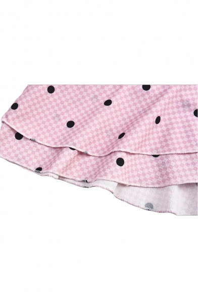 Polka Dot Printed V Neck Sleeveless Ruffle Detail Mini Asymmetric Dress