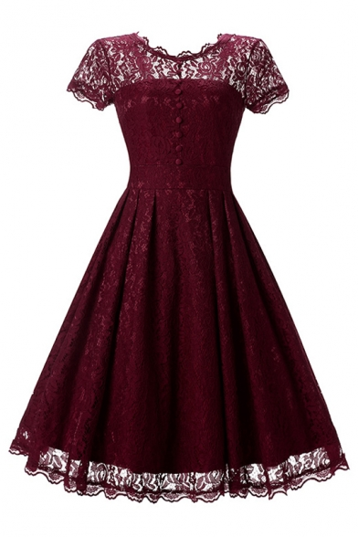 Round Neck Short Sleeve Buttons Embellished Midi A-Line Lace Dress