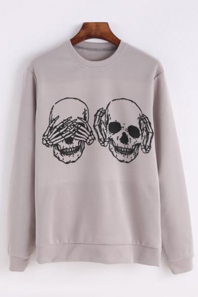 Long Sleeve Neck Skull Round Printed Sweatshirt aY4tw