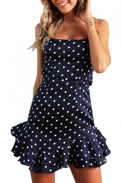 Ruffle Hem Spaghetti Straps Sleeveless Polka Dot Printed Mini Asymmetrical Dress