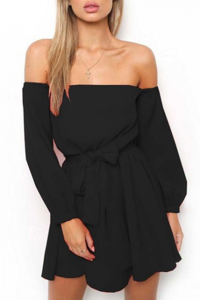 Tie Waist Off The Shoulder Plain Long Sleeve Mini A-Line Dress