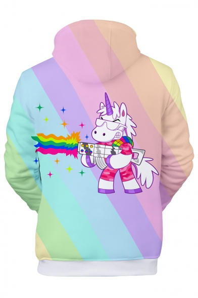 Unicorn Sleeve Printed Unisex Hoodie Long Color Block Leisure A4SAp