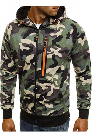 Zip Long Embellished Zipper Up Hoodie Camouflage Printed Sleeve avXgnp