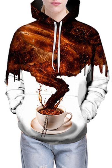 3D Color Block Coffee Printed Long Sleeve Leisure Hoodie