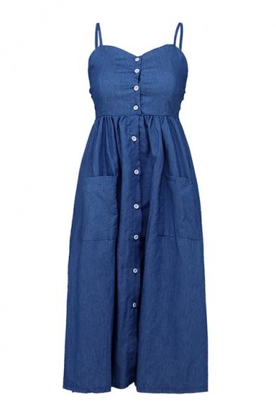 Button Down Spaghetti Straps Sleeveless Midi A-Line Denim Dress