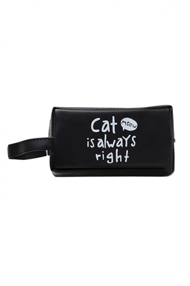 CAT IS ALWAYS RIGHT Letter Printed PU Pencil Case