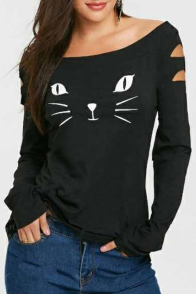 Out Leisure Long Tee Boat Detail Neck Cat Cut Sleeve Printed 8BwES