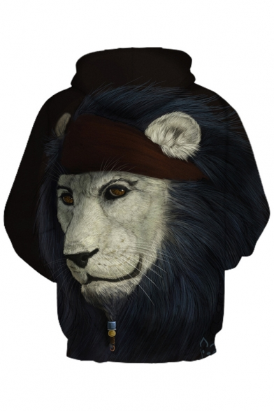 Leisure Oversize Sleeve Hoodie Long Printed 3D Lion Chic YwZqpXR