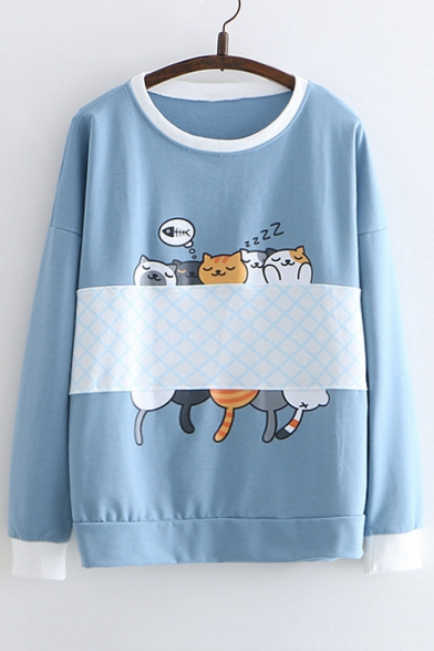 Printed Round Cat Color Neck Block Long Sleeve Sweatshirt fXwRxERq