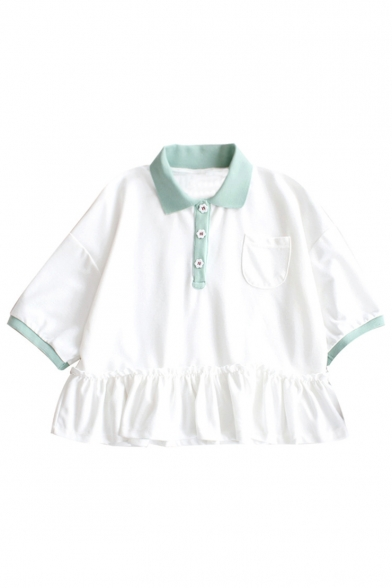 T Short with Pocket Hem Ruffle Contrast Shirt Trim Button Sleeve 8BFwRxqYE
