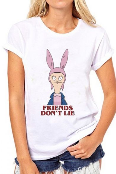 Short DON'T LIE FRIENDS Round Sleeve Character Letter Tee Cartoon Neck Printed AUwFx8dqw