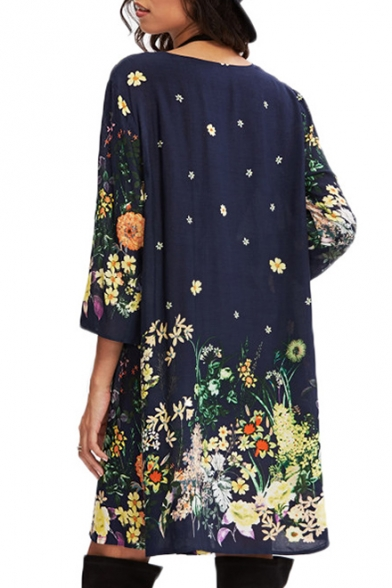 Round Dress Neck Floral A Printed Sleeve Line Midi Half tqwv7Bx