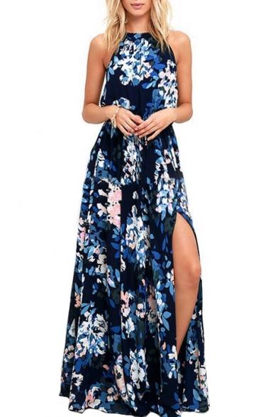 Halter Sleeveless Split Front Floral Printed Maxi Cami Dress