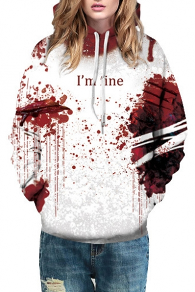 I'M FINE Long Hoodie Loose Sleeve Printed Blood Letter RFrqnxwZR