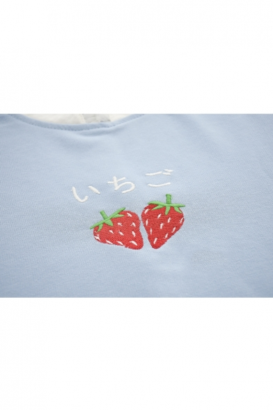 Sleeve Mesh Trim Round Long Sweatshirt Embroidered Strawberry Neck Japanese Leisure Patch qwPHPa