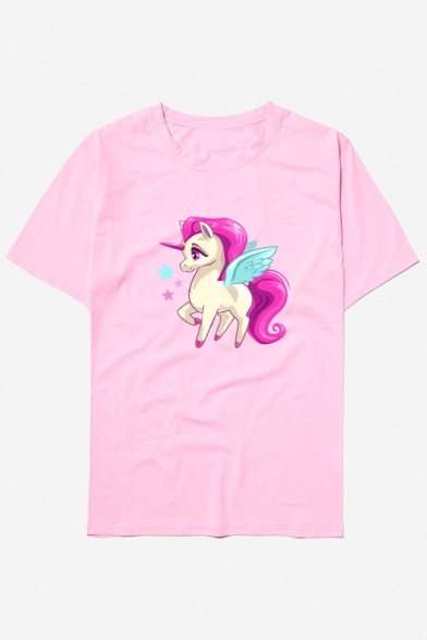 Tee Round Unicorn Cute Short Neck Sleeve Printed Leisure Unisex Cartoon ZqHnRzZI