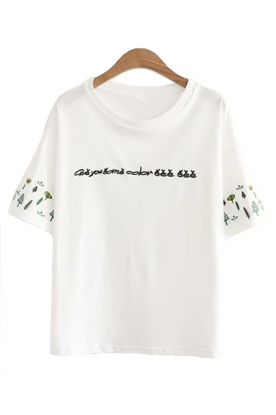 Short Tree Round Letter Sleeve Tee Embroidered Leisure Neck AqX5ww