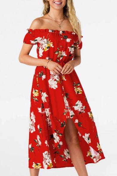 Off The Shoulder Floral Printed Short Sleeve Maxi Asymmetric Hem Dress