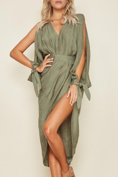 Sexy Split Sleeve V Neck Plain Midi Asymmetric Dress