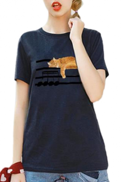Short Sleeping Round Sheet Printed Neck Sleeve Cat Tee fwXqTwz