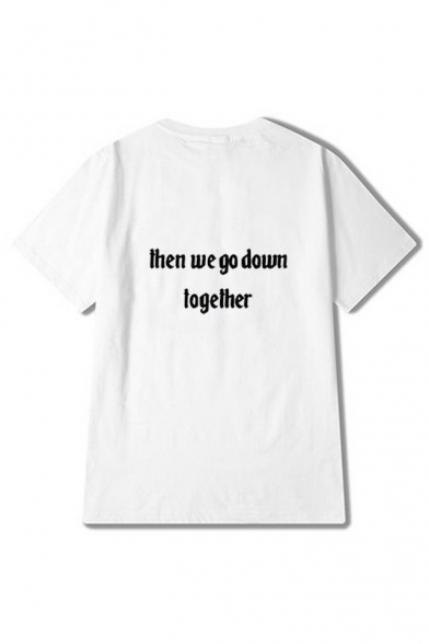 Round Tee Short Letter Printed Neck DOWN WE THEN Sleeve GO TOGETHER OFaaSP